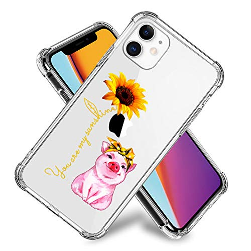 My Sunshine Sunflower Pig Case for iPhone 11,11 Pro,11 Pro Max, iPhone X, XR, iPhone 7/8,7/8 Plus, Flexible TPU Shockproof Protective Case Cover