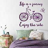 YuanMinglu Inspiration Forschung Fahrrad Büro Wandaufkleber Zitat Dekoration Abnehmbare Vinyl Wand Bike Poster Lila 57x57 cm