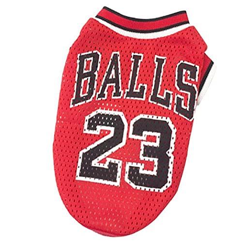 Liadance Ropa de Perro Baloncesto Uniforme de Malla Camiseta Transpirable T-Shirt Perros Disfraz de Baloncesto Fans para Perros de Mascotas Gatos Red L