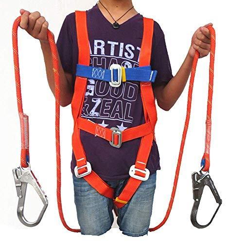 showyow Arnés de Seguridad anticaídas Conjunto de protección de arnés de posicionamiento de Trabajo de Cuerpo Completo de 5 Puntos con Cuerda de Seguridad de Doble Gancho