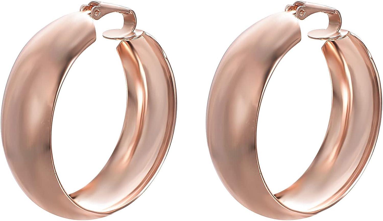 JOLCHIF Wide Hoop Earring for Women Simple 18k Gold Plated Hoop Earrings for Women Non Pierced Ears Hypoallergenic Hoop Earrings Jewelry