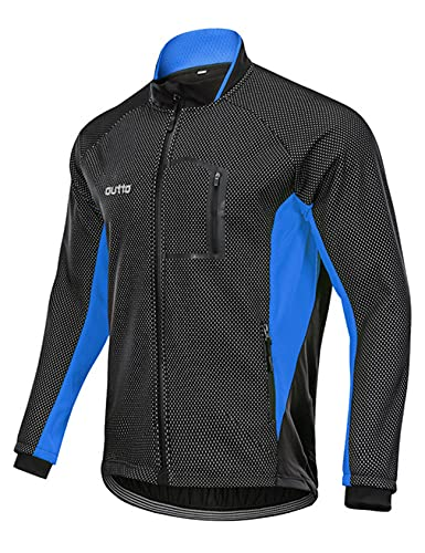 Bestgift Forro polar ciclismo Jersey hombre manga larga hombres otoño e invierno más polar para mantener caliente travesaño parabrisas ciclismo Jersey chaqueta hombre, Negro + Azul, 3XL