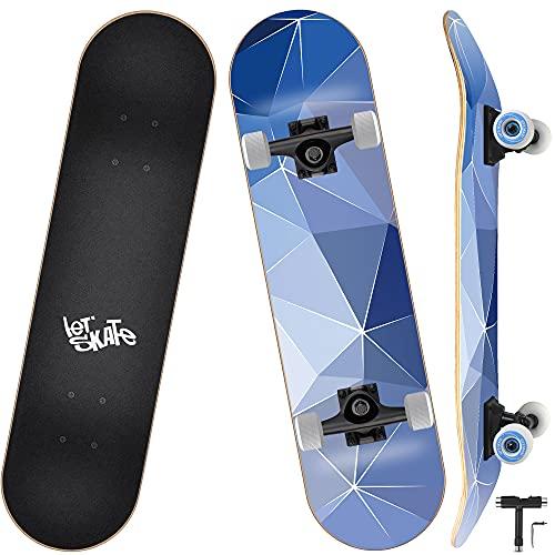 Skateboard, Komplettboard 31 x 8 Zoll Skateboards mit Doppel-Kick, ABEC-9 Kugellager, 7-lagigem Ahornholz Longboard für Männer und Frauen Jugend Kinder Straße Erwachsene Anfänger