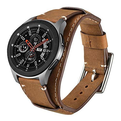 Leotop Compatibel met Samsung Galaxy horloge 46 mm / Gear S3 Frontier / klassieke band, 22 mm lederen horlogeband Manchetvervangende armbanden met roestvrijstalen gesp voor mannen Vrouwen (22 mm, Bruin)