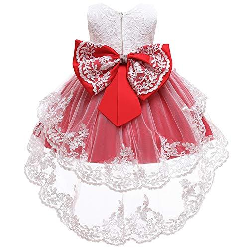 HOIZOSG Vestido de encaje de bautizo para niñas y bebés, de tul alto, bajo desfile, bautismo, formal, boda, bowknot fiesta de cumpleaños, vestido de baile - rojo - 12 -18 meses