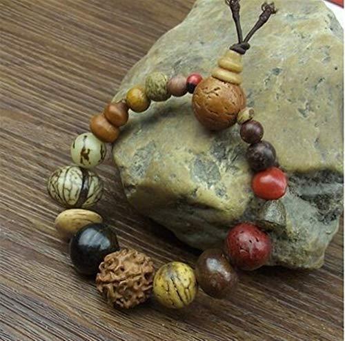 SASCD Moda joyería de la Vendimia 18 Pulsera de semilla Natural del Bodhi brazaletes Buda Pulsera del Encanto del Tíbet budistas Cuentas de Madera de la oración (Color : A)