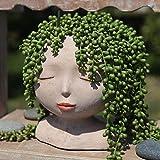 YIKUSH Female Head Design Succulents Plant Pot with Drainage Hole/Cactus Planter Indoor Outdoor Resin Planter, Cute Plants Flower Pot,No Plant
