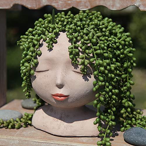 YIKUSH Female Head Design Succulents Plant Pot with Drainage...