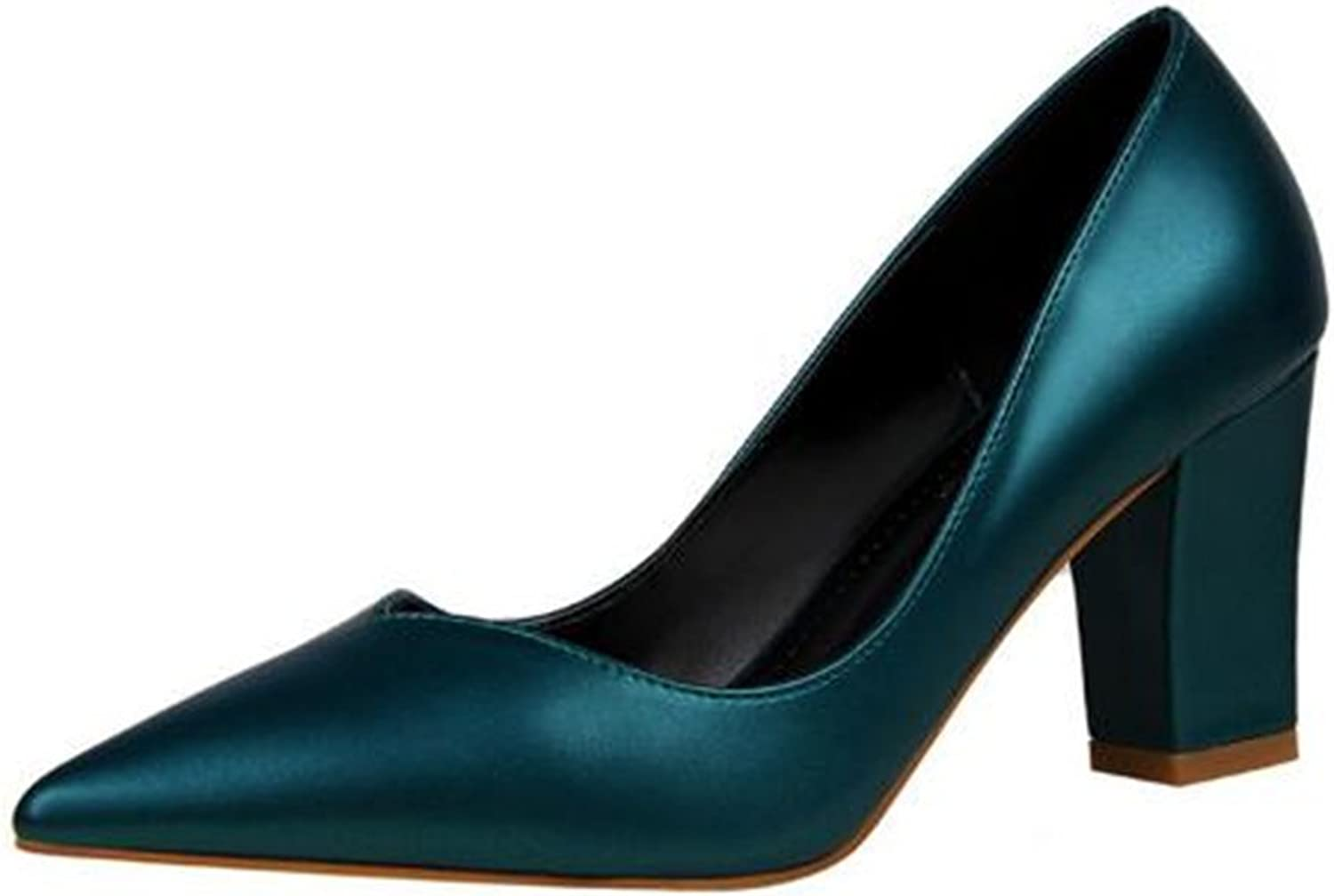 MODEOK Sexy Pointed Toe high Heels Elegant Thick Single shoes Professional