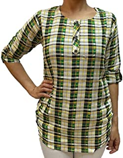 Veronica Long Sleeve Ladies Blouse checkered yellow green