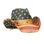 Vamuss Men's Vintage USA American Flag Cowboy Hat w/Western Shape-It Brim