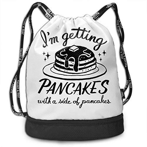 iqishengma Gymsack Ich bekomme Pfannkuchen mit Einer Seite von Pfannkuchen Druck Drawstring Taschen Einfache Turnhallen Umhängetaschen