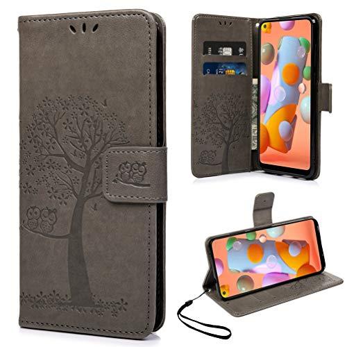 Yiscase Lederhülle für Samsung Galaxy A11 / M11 Hülle, Premium Leder Flip Wallet Schutzhülle Tasche mit Magnetverschluss, Kartenfach Brieftasche Handyhülle für Samsung A11 / M11 - Grau