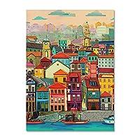キャンバスの写真50x70cm1ピースフレームなしカラフルな家の水ヴィンテージポスター都市の風景北欧アートキャンバスの絵画壁の写真現代の家の装飾