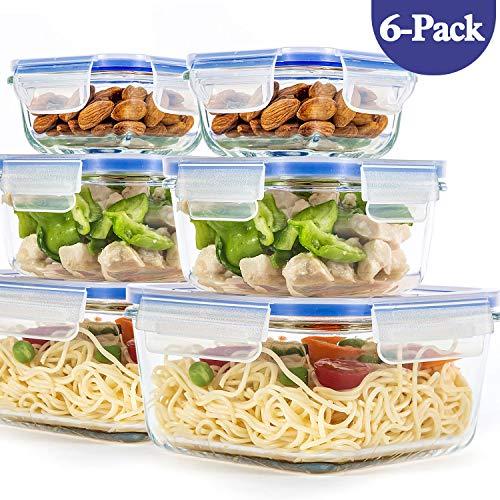 Paquete de 6 contenedores de vidrio para almacenamiento de alimentos, con tapas...