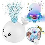 Upworld Badespielzeug, Wassersprühspielzeug 2-in-1-Automatik-Induktionswal-Sprinkler-Baby-Badespielzeug, Badezeit-Ballspielzeug mit Blinklicht und Musik für Kleinkinder Kleinkinder Jungen Mädchen