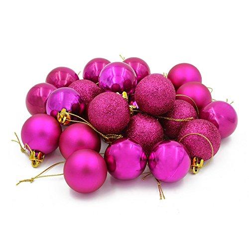 COOLWEST 24-teilig Weihnachtskugel-Set Weihnachtskugeln Christbaumkugeln Weihnachtsbaumschmuck Baumkugeln (Rosa) MEHRWEG