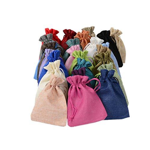 PLECUPE 10 Stück Natur Jutesäckchen Baumwollbeutel Leinen Säckchen für Hochzeit Geschenktüte, 20 x 30cm Leinen Tunnelzug Säckchen Geschenksäckchen Stoffsack aus Baumwolle Fest Party Beutel, Zufällig