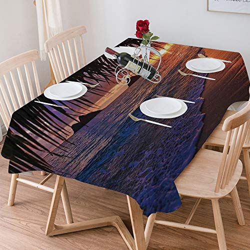 Tablecloth Rectangle Cotton Linen,Hawaiian Decorations,Pacific Sunrise at Lanikai Beach Hawaii Sandy ,Waterproof Stain-Resistant Tablecloths Washable Table Cover for Kitchen Dinning Party (140x200 cm)