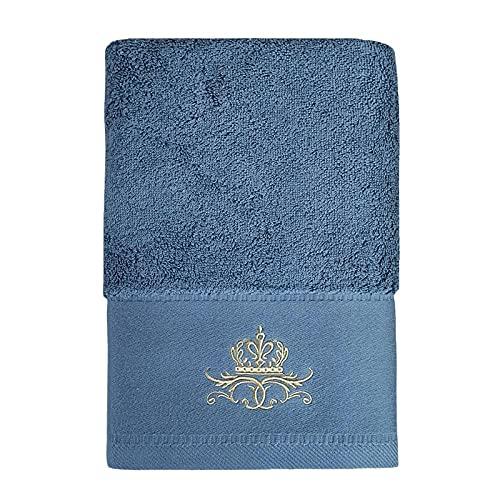 Patrón de Corona de algodón Largo de Terciopelo Toalla de baño de Tres Piezas 160 * 80 cm 800 Gramos de Toalla 80 * 40 cm Toalla de Cara 33 * 33 cm-Azul_80 * 160cm ⭐