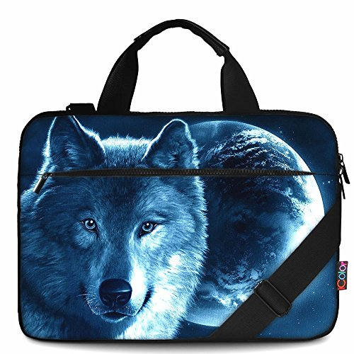 iColor 14 15 15.4-inch Laptop Shoulder-Bag - Canvas Computer Tablet Protective Carrying Case 14-15.6 inch Notebook Briefcase with Handle Compatible Chromebook MacBook Pro HP (14~15.6, Cool Wolf)
