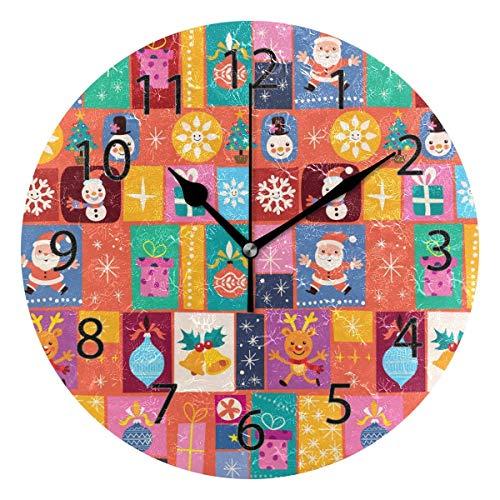 Reloj de pared decorativo para el hogar, oficina, silencioso, de madera, 25,4 cm, para sala de estar y oficina (bonito patrón de Navidad, diseño de dibujos animados)