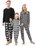 Irevial Pijamas de Navidad Familia Conjunto Algodón Pijama Navidad Familia Ropa de Dormir Raya Pijama Familiar a Juego Navidad Manga Larga Pijamas navideños Dos Piezas para Mamá Papá Niños