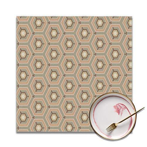 Wrution Vintage Muster, sechseckiger Vektorbild, Esstisch, waschbar, gewebtes Vinyl-Platzdeckchen, hitzebeständig, 4 Stück (30,5 x 30,5 cm)