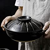 Olla caliente Donabe japonesa, cazuela de cerámica resistente al calor con tapa, olla para estofado lento, cazuela redonda, olla para sopa, olla para cocinar para fideos de sopa, 2.8L