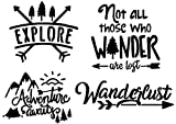 Explore Decal 4 Pack: Adventure Awaits, Not All Those Who Wander are Lost, Wanderlust, Explore (Black, Small ~3.5')
