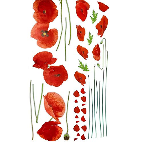 Courti Self Adhesive Flower Sticker Kit Paper Poppies Sticker For Wheelie Bin Decorative and House Decoration, Poppy Flowers For Waterproof, self-adhesive, easy to remove