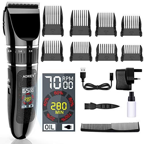 AOKEY 2500mAh Haarschneidemaschine, LCD-Farbdisplay, Haarschneider, Herren Haartrimmer, 8 Aufsteckkämme, Präzision Längeneinstellung, Wiederaufladbar, Geeignet für Körper, Familie