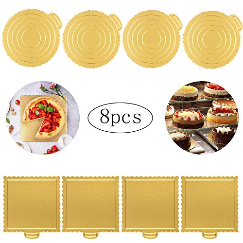 8 Piezas Bandeja para Tartas, Almohadilla de Tarta, Tartas Soporte Redonda y Bases Carton Cuadrado, Cake Tarjeta, Reutilizables de cartón para tartas, para Decoración de Tartas, Bodas, Fiestas(Dorado)