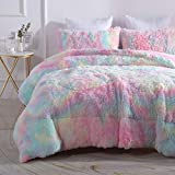 Wajade Faux Fur Plush Rainbow Comforter Set Fluffy Fuzzy Shaggy Bedding Set - 3PC Full/Queen Microfiber Soft Warm Quilt Set