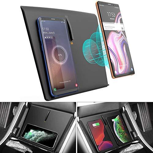 AWYLL Cargador de Coche inalámbrico para Tesla Model 3 / Y, 10W Cargador de teléfono de Carga rápida Carga inalámbrica * 3 para iPhone 12 Pro MAX Mini 11, Galaxy S20 / S10, Huawei, Xiaomi
