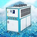 VEVO Enfriador de Agua Industrial 8T 8Hp, Refrigerado por Aire, Máquina Enfriadora de Tanque de Agua de Acero Inoxidable, con Control de Microordenador y Condensador con Aletas Profesional