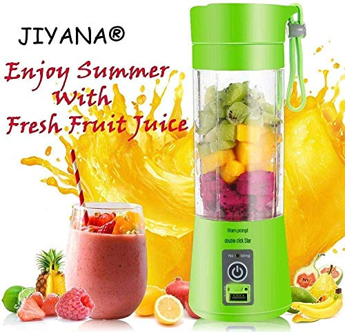 JIYANA Portable USB Electric Blender Juicer Cup Plastic Fruit Juicer Grinder 380ml...