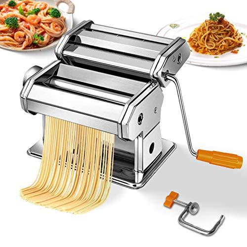 Todeco Manivela de máquina para hacer pasta, kit de prensa de rodillos de pasta de acero inoxidable con 6 configuraciones de grosor,...