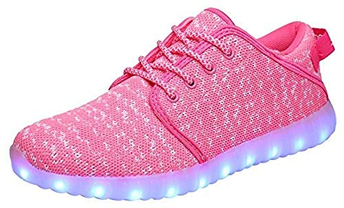 MOHEM ShinyNight LED Shoes Light Up USB Charging Flashing Sneakers(1687018Pink42)