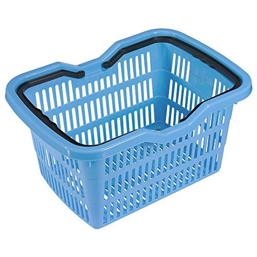 Grande Cestino Multiuso Rettangolare con Manici in plastica, Blu, Confezione da 12