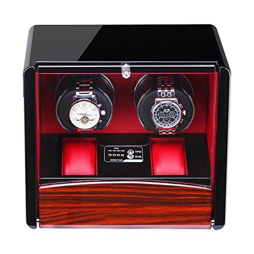 LWBAN-Packing Watch Winder Carica Orologi Nero Portaorologi Porta 2 Orologi Automatici e 2 a Riposo - Supporta Tre Tipi di Alimentazione - 26 * 17 * 13cm, Red