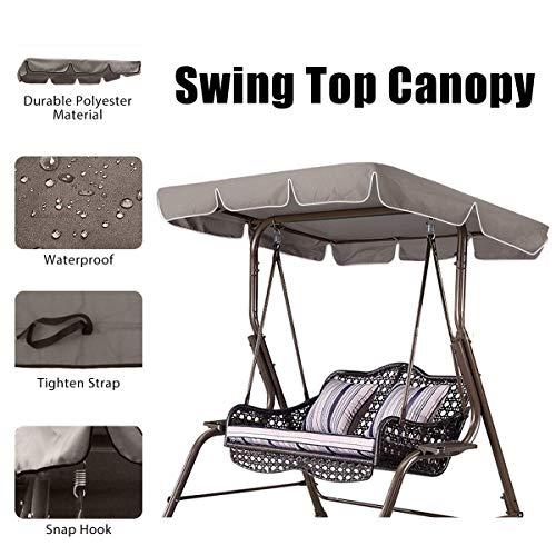 Essort Swing Top Cover, Imperméable Anti-UV Swing Top Couverture Canopy Remplacement pour Extérieur Porche Patio Swing, 190×132×14cm Taupe