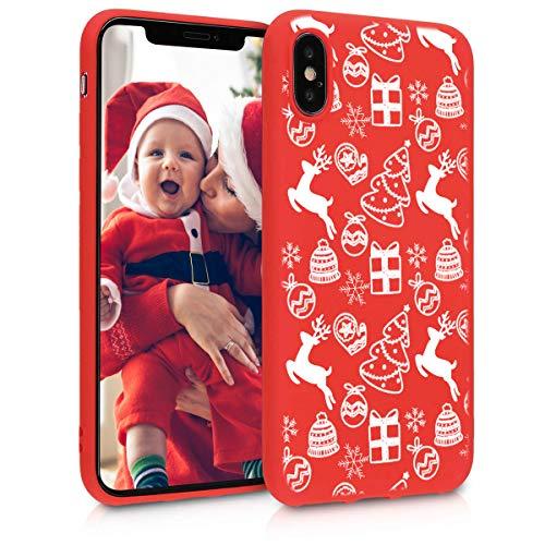 Pnakqil Funda iPhone XS/X Roja Silicona con Navidad Dibujos Ultrafina Suave Carcasa Antigolpes Gel TPU Goma Bumper...