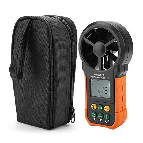 PM6252A Misuratore di Velocità del Vento Digitale Portatile, Misuratore di Volume d'Aria Professionale con Indicatore di Batteria