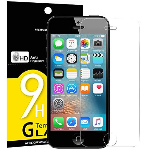 NEW'C 3 Stück, PanzerglasFolie Schutzfolie für iPhone 5,5S,5C, Frei von Kratzern Fingabdrücken und Öl, 9H Härte, HD Displayschutzfolie, 0.33mm Ultra-klar, Ultrabeständig