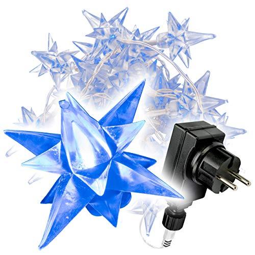 Nipach GmbH 40 LED Sternenlichterkette blau für Innen Aussen Trafo Timer transparentes Kabel Sternenkette Weihnachtssternkette Weihnachtsdeko Xmas-Deko