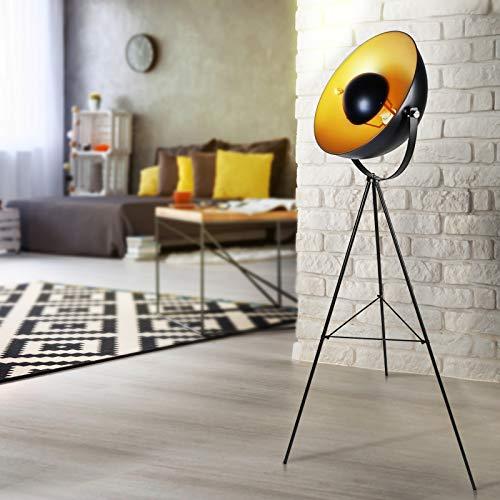 Stehleuchte mit Stativ - EEK A++ bis E, LED, Höhe 163 cm, schwenkbar, 60 W, E27, Schwarz-Gold - Tripod Stehlampe, Standleuchte, Fußbodenlampe im Retro Vintage Design für Wohnzimmer, Schlafzimmer