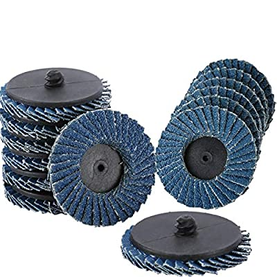 "YaeCCC 30 Pcs 2"" inch Flap Disc, Flap Disc Roll Lock Grinding Sanding Sandpaper Wheels with 1/4 inch Holder, Includes 40/60/80 grits"