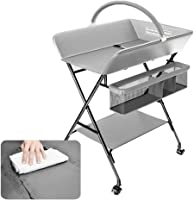 Gray Diaper Table, Foldable Baby Changing Station with Storage Basket, Newborn Nursery Dresser Station for 0-3 Years Old