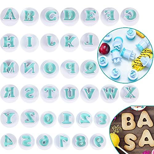 Bluelves Stampo a Forma di Lettere, Stampi per Biscotti di Alfabeto, Tagliabiscotti Lettere per Pasta di Zucchero, Stampi ad Espulsione per Fondente, Fai da Te, Decorazione Torte